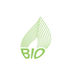 Green leaf bio emblem sign for natural product vector
