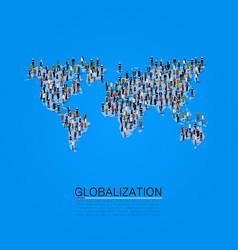 Group of people making a earth planet shape vector