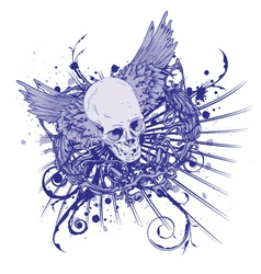 Grunge vintage emblem with skull vector