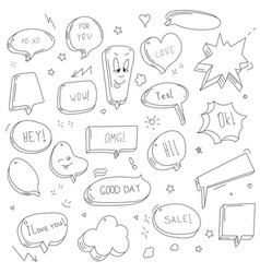 hand drawn set sketch speech bubbles vector image