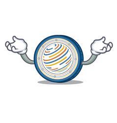 Hand up factom coin character cartoon vector