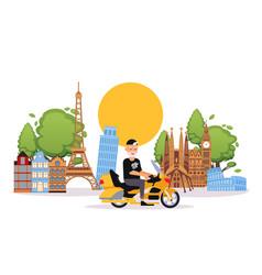 happy retired elderly man travels on bike in vector image