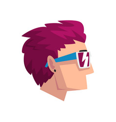 head of man with short purple dyed hair profile vector image