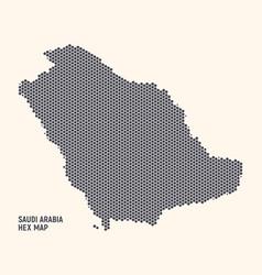 Hexagonal halftone design saudi arabia kingdom map vector