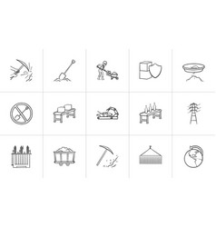 industry hand drawn sketch icon set vector image