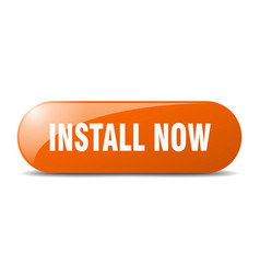 Install now button sticker banner rounded glass vector