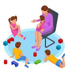 Isometric concept mom tells children tales vector