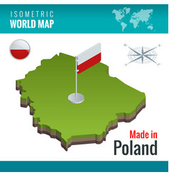 Isometric map and flag of the poland officially vector
