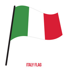 italy flag waving on white background italy vector image