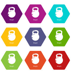 kettlebell icons set 9 vector image