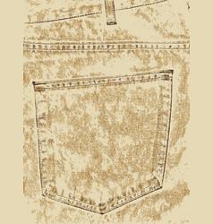 khaki denim pocket vector image