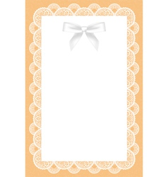 Lace background with white bow vector