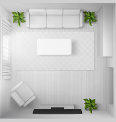 Living room with white furniture and tv top view vector