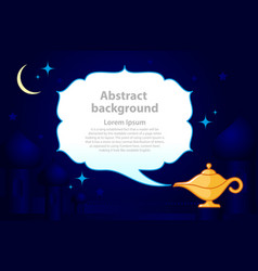 Magic genie lamp with smoke with place for text vector