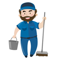 male janitor in blue uniform vector image