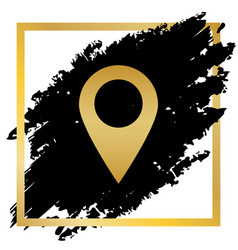 Mark pointer sign golden icon at black vector