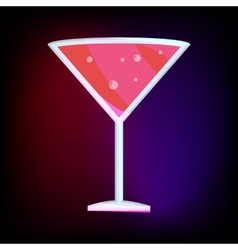 Martini glass with red cocktail icon cartoon style vector image