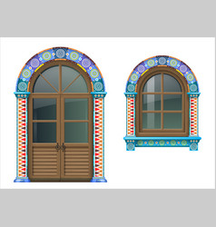 Mexican wooden window and doors vector