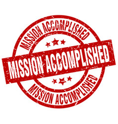 mission accomplished round red grunge stamp vector image