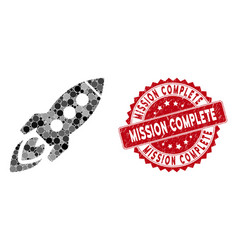 mosaic space rocket with grunge mission complete vector image