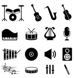 Musical instruments icon set vector