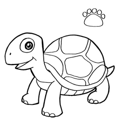 paw print with turtle Coloring Page vector image