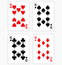 Playing Cards Showing Tens from Each Suit vector