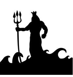Poseidon god silhouette ancient mythology fantasy vector