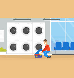 public laundrette with laundromat washing machines vector image