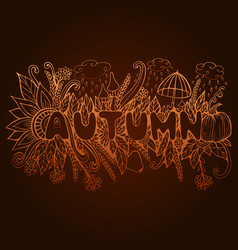 Rust autumn word with doodle elements pumpkin vector