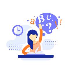 School girl sitting at desk raising hand vector