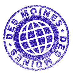 Scratched textured des moines stamp seal vector