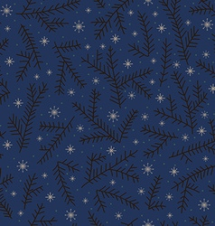 Seamless pattern fir brunch winter snowflake Dark vector image