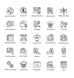 Search engine and optimization master icons vector