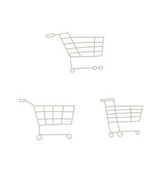 set hand drawn shopping carts isolated on vector image