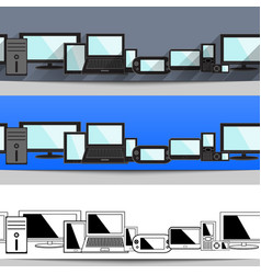 set of design seamless header on electronic vector image