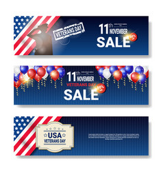 set of sale posters with veteran day discounts vector image