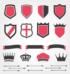 Set shields heraldic crowns ribbons arrows vector