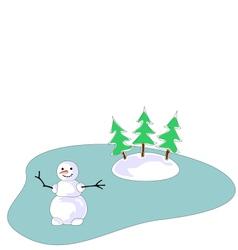 Snowman on frozen lake vector