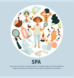 Spa procedures promotional poster with beautician vector