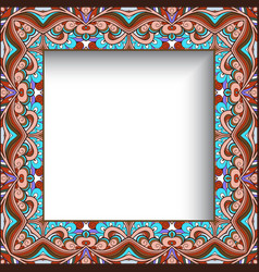 square frame with curly ornamental border vector image