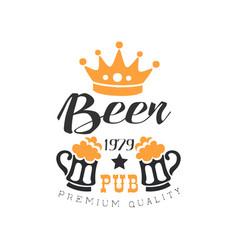 stylish black and orange emblem for pub vector image