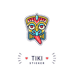 Tiki sticker or badge tiki icon isolated vector
