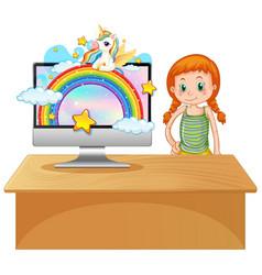 unicorn on computer background vector image