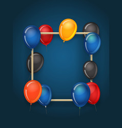 vertical empty frame with color balloons party vector image