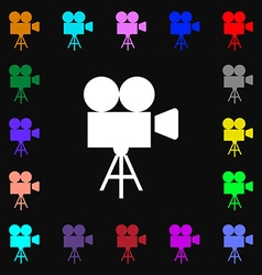 Video camera icon sign Lots of colorful symbols vector image