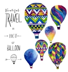 Watercolor card with hot air balloon Hand drawn vector