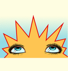 women eyes look up vector image