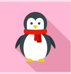 xmas penguin icon flat style vector image
