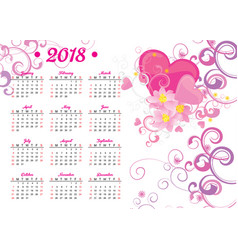 2018 year calendar pink heart and flowers decor vector image